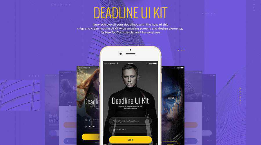 Deadline free mobile app ui kit Photoshop psd ios android