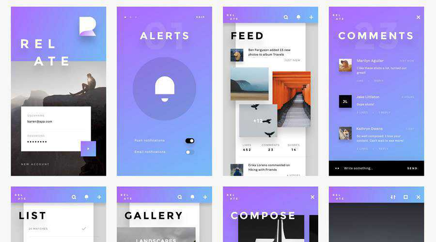 Relate Simple free mobile app ui kit Invision ios android