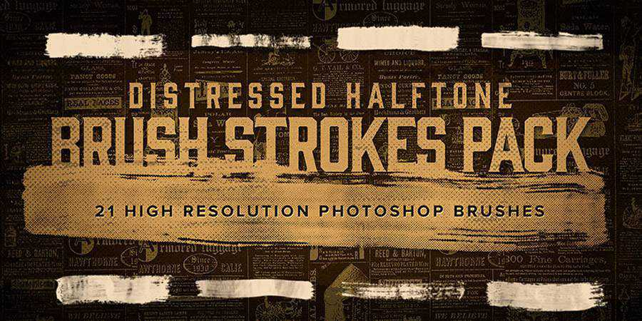 Distressed Halftone Brush Strokes ABR
