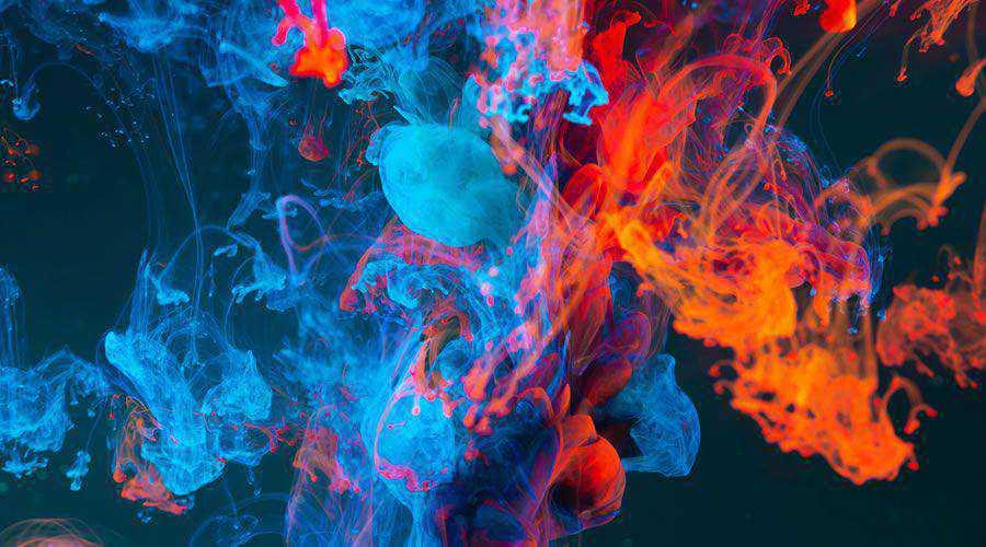 Blue & Orange Abstract Smoke desktop wallpaper hd 4k high-resolution