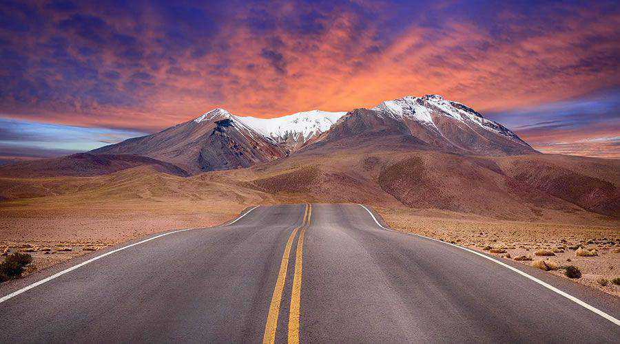 Beautiful Mountain Road Landscape at Sunset desktop wallpaper hd 4k high-resolution