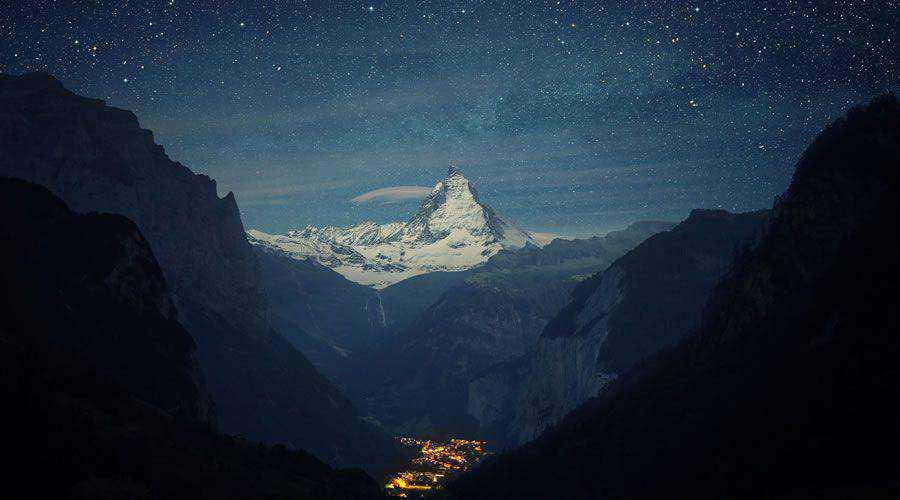 Snowy Mountains Peaks at Night desktop wallpaper hd 4k high-resolution