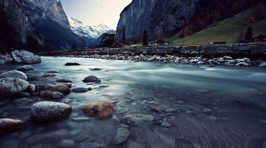 HDR Mountain River in Winter desktop wallpaper hd 4k high-resolution