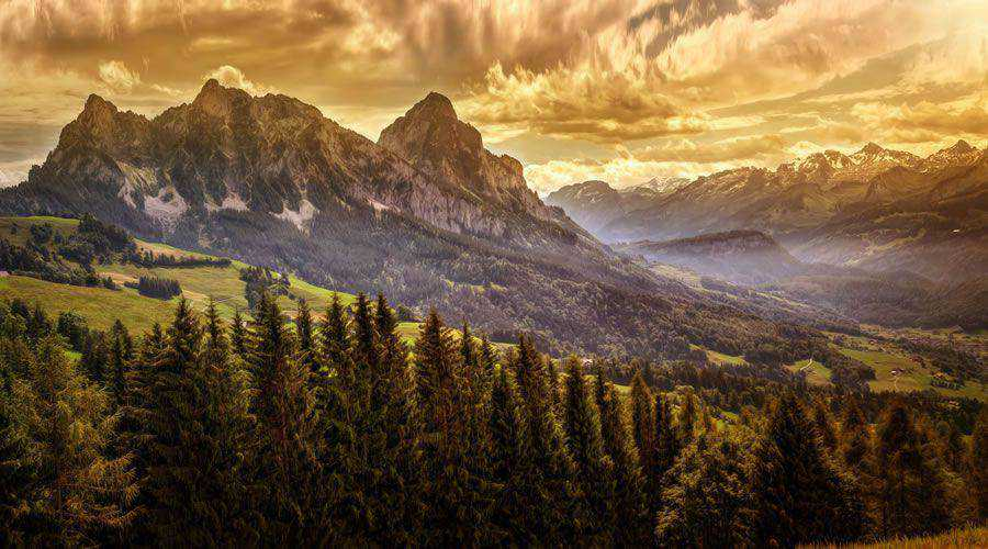 Mountains Forests at Sunset desktop wallpaper hd 4k high-resolution