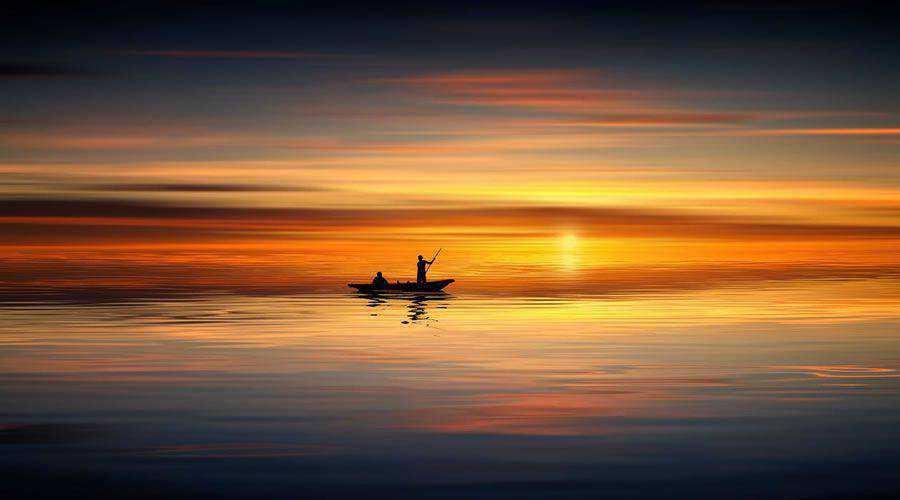 Gentle Water Fishermen During Sunset desktop wallpaper hd 4k high-resolution