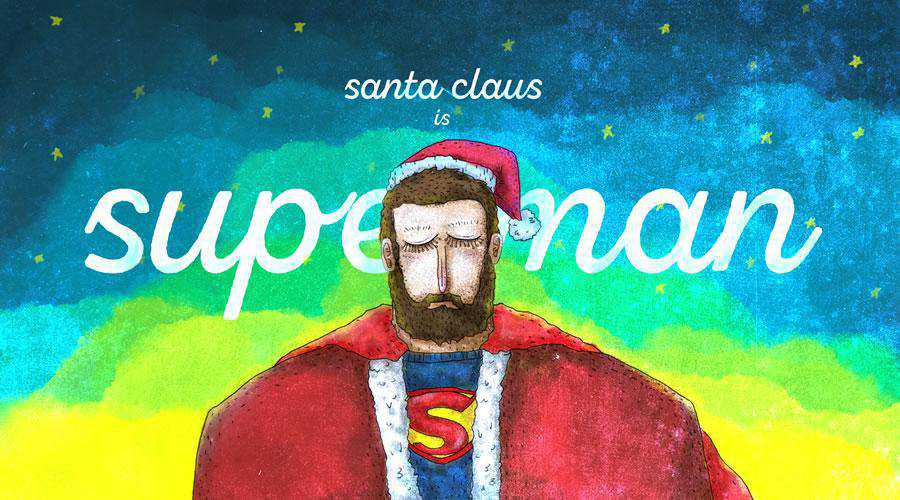 Santa Claus is Superman Ilustration christmas hd wallpaper desktop high-resolution background