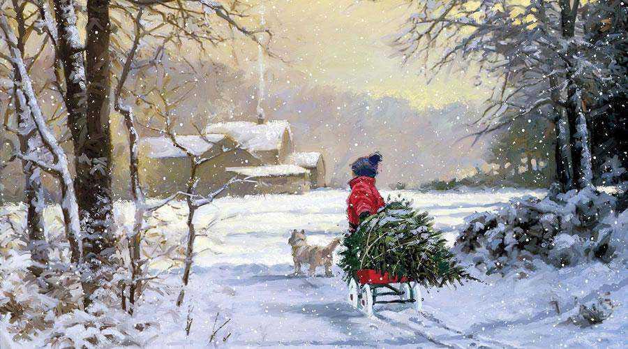 Pulling Christmas Tree Illustration hd wallpaper desktop high-resolution background