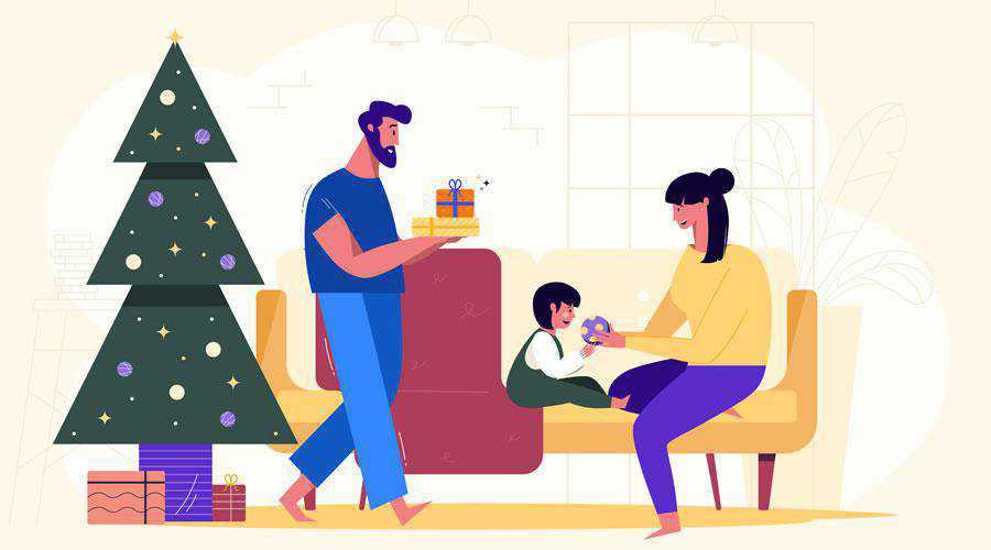 Family Christmas Illustration hd wallpaper desktop high-resolution background