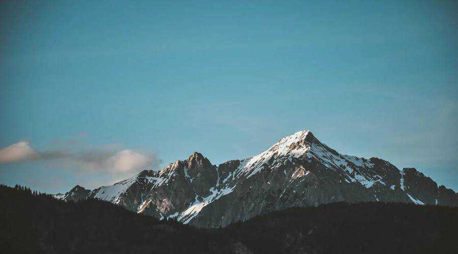 Snow-top Mountain Under Clear Sky minimal minimalistic desktop wallpaper hd 4k high-resolution