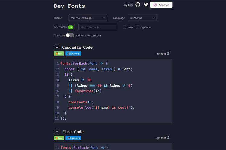 Example from Dev Fonts