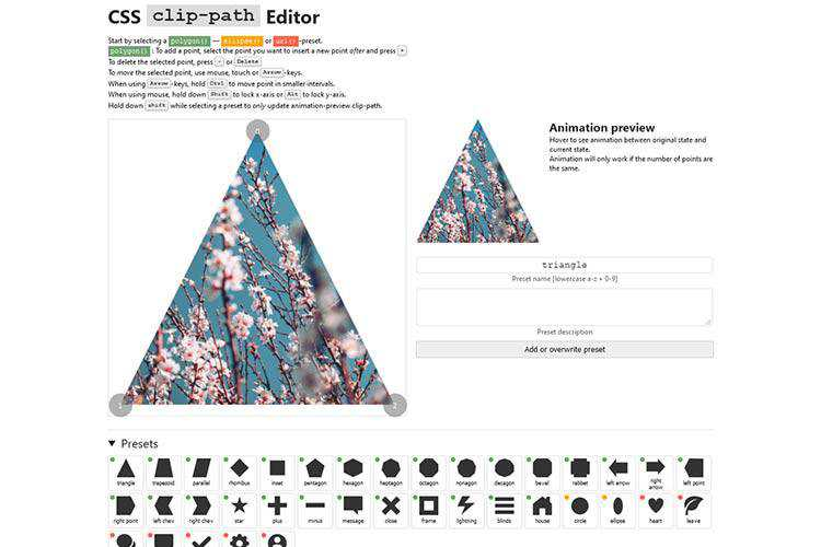 Example from CSS clip-path Editor