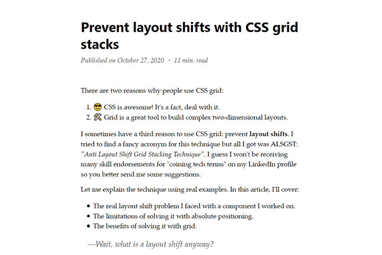Example from Prevent layout shifts with CSS grid stacks