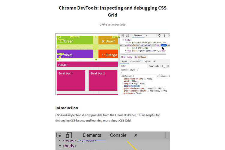 Example from Chrome DevTools: Inspecting and debugging CSS Grid