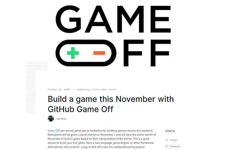 Example from Build a game this November with GitHub Game Off