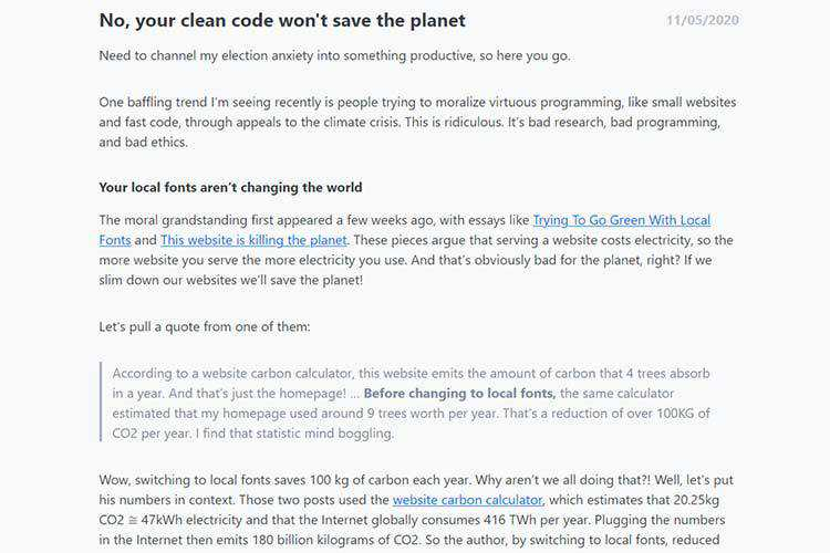 Example of No, your clean code won't save the planet
