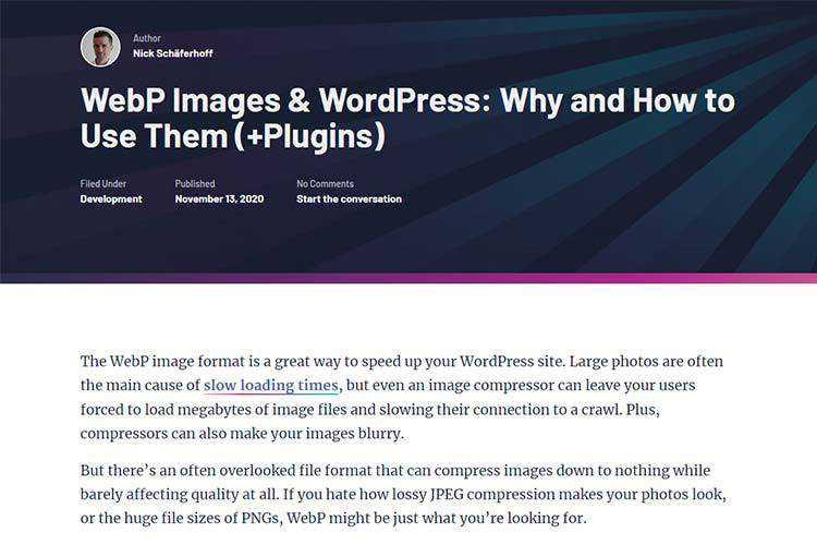 Ejemplo de WebP Images y WordPress: por qué y cómo usarlos (+ complementos)