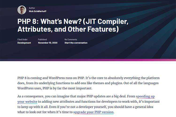 Example from PHP 8: What's New? (JIT Compiler, Attributes, and Other Features)