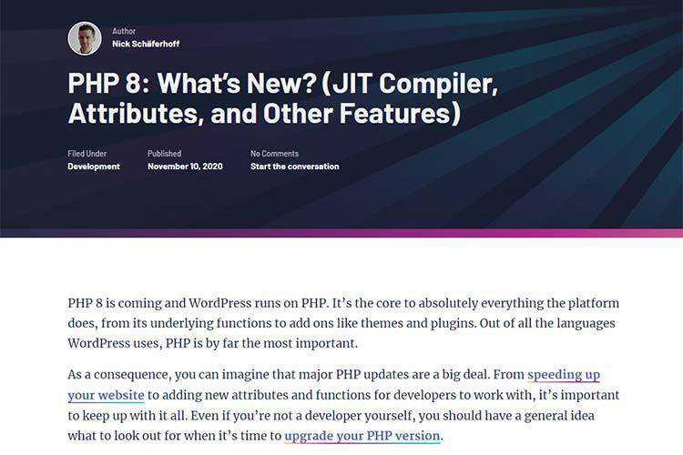 Ejemplo de PHP 8: ¿Qué hay de nuevo? (Compilador JIT, atributos y otras funciones)