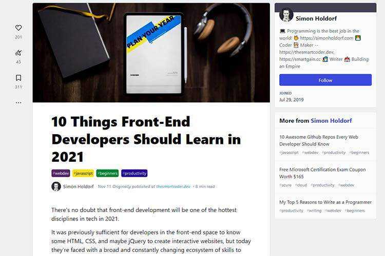 Ejemplo de 10 cosas que los desarrolladores front-end deberían aprender en 2021