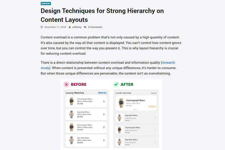 Example from Content Design Techniques for Strong Hierarchy on Content Layouts