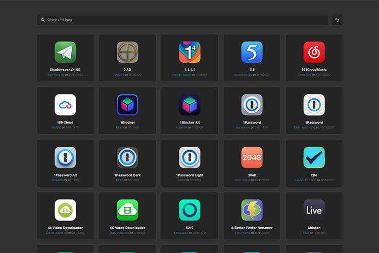 Ejemplo de iconos de reemplazo de macOS Big Sur