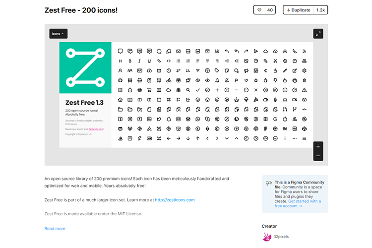 Example from Zest Free - 200 icons!