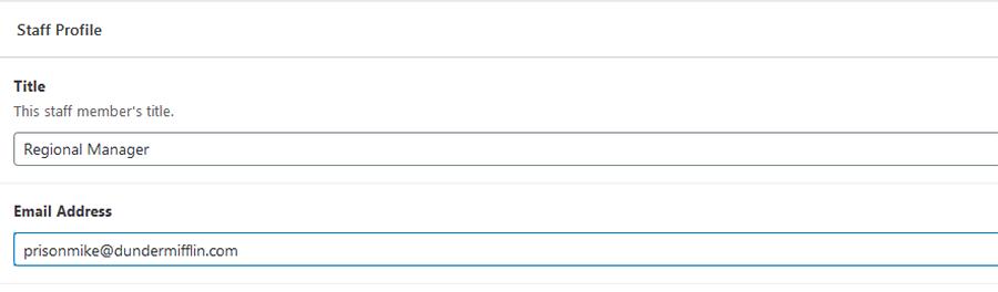 WordPress custom fields for staff member profiles.