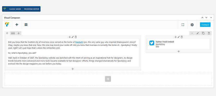 A Layout Built with a Page Builder Plugin