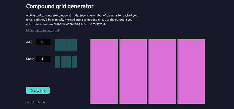 css Compound Grid Generator web-based tool free web design example