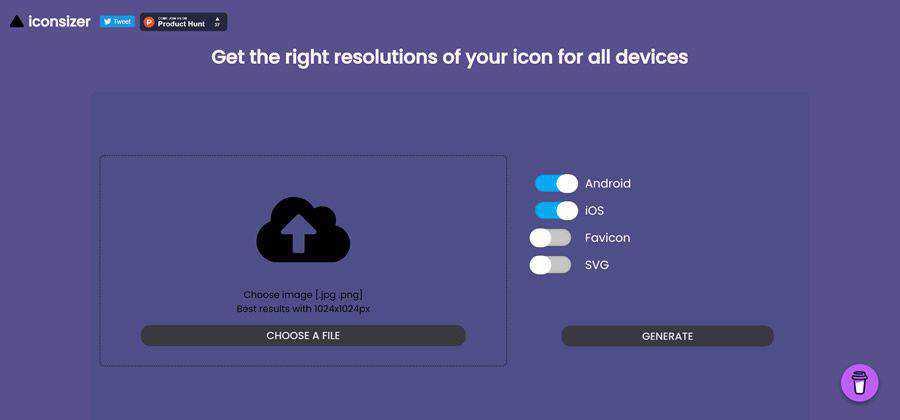 Iconsizer web-based tool free web design example