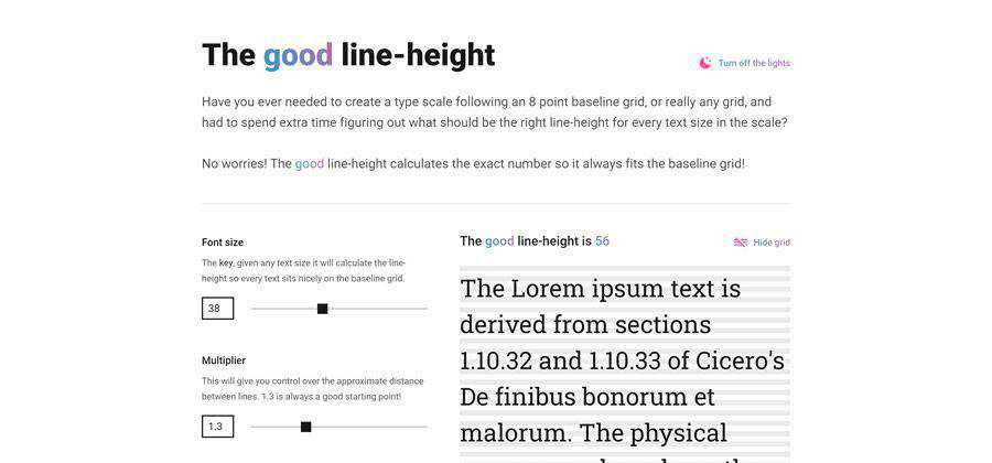 line-height css typography web-based tool free web design example