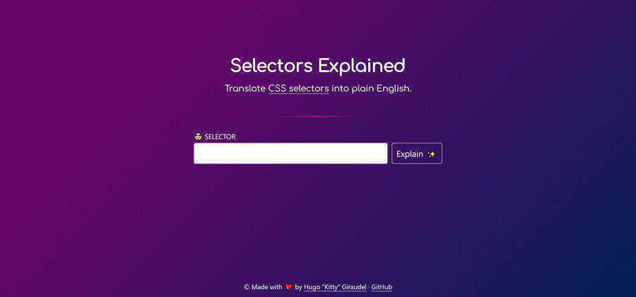 css electors Explained web-based tool free web design example