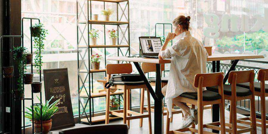 designer at organized desk space
