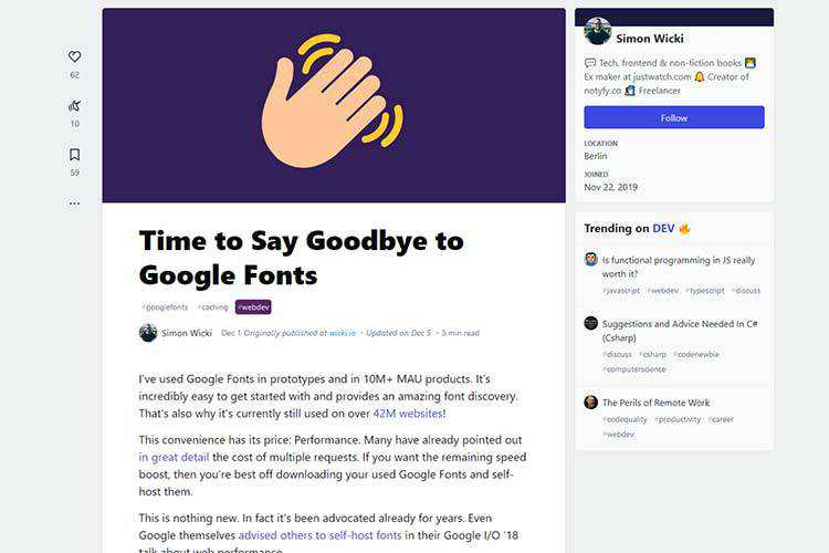 Example from Time to Say Goodbye to Google Fonts