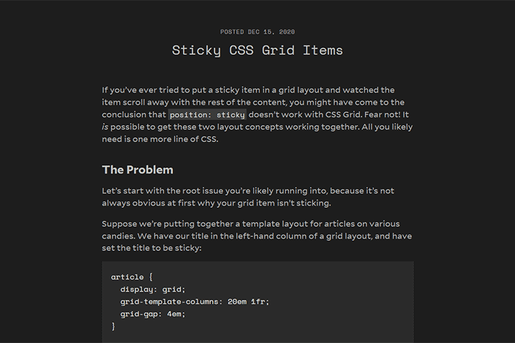 Example from Sticky CSS Grid Items