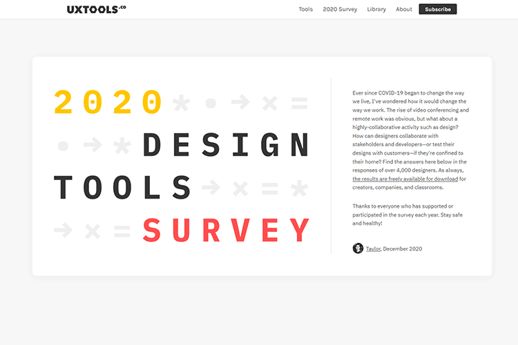 Example from 2020 Tools Survey Results