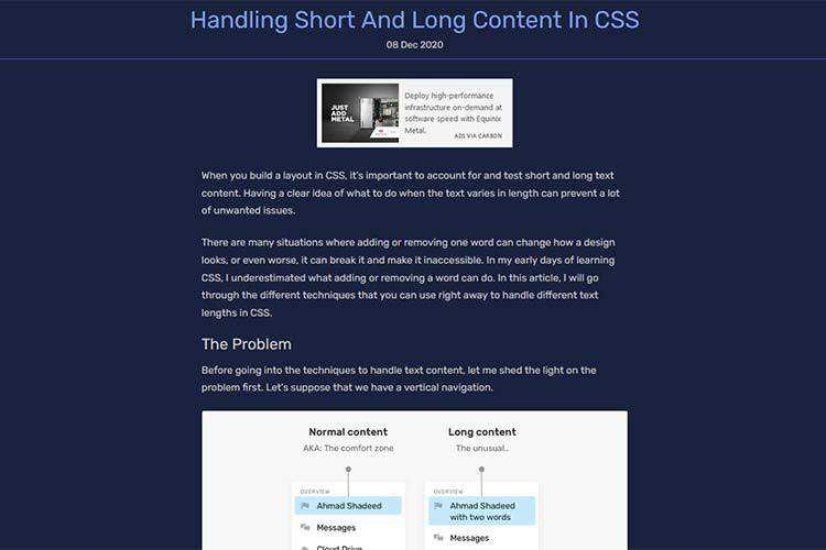 Example from Handling Short And Long Content In CSS