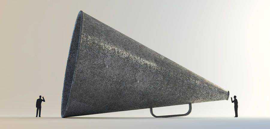 Megáfono Escuche buenas malas ideas de diseño vintage