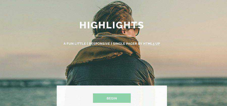 Highlights CV full-screen slider portfolio html5 template website responsive