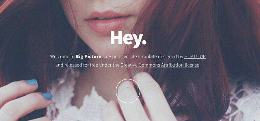 Big Picture single-page portfolio html css responsive template web design free