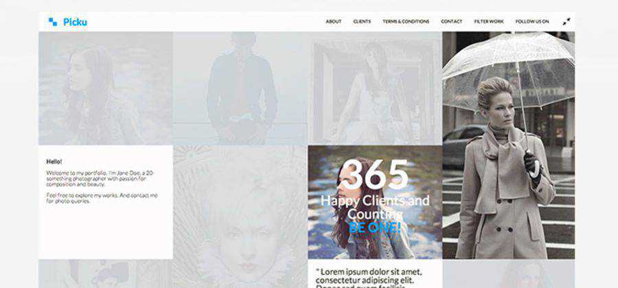 Picku minimal template photographers creatives html css responsive template web design free