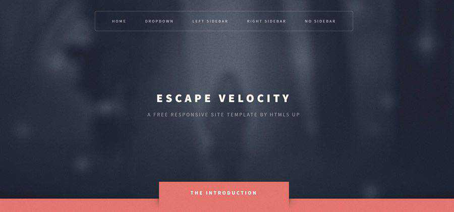 Escape Velocity free responsive HTML5 site template flat