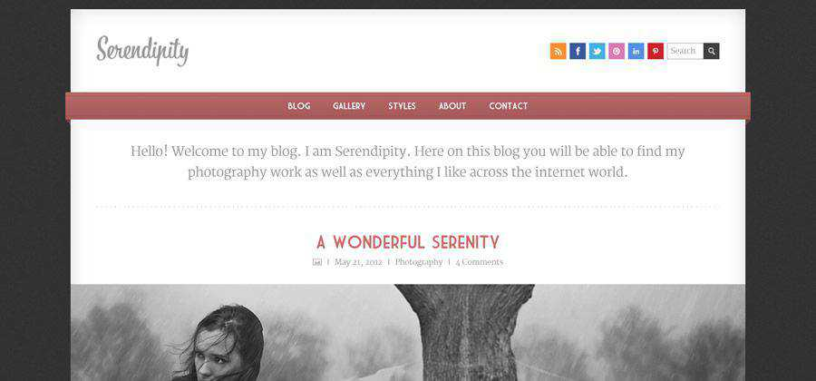 Serendipity free responsive single column blog template html5