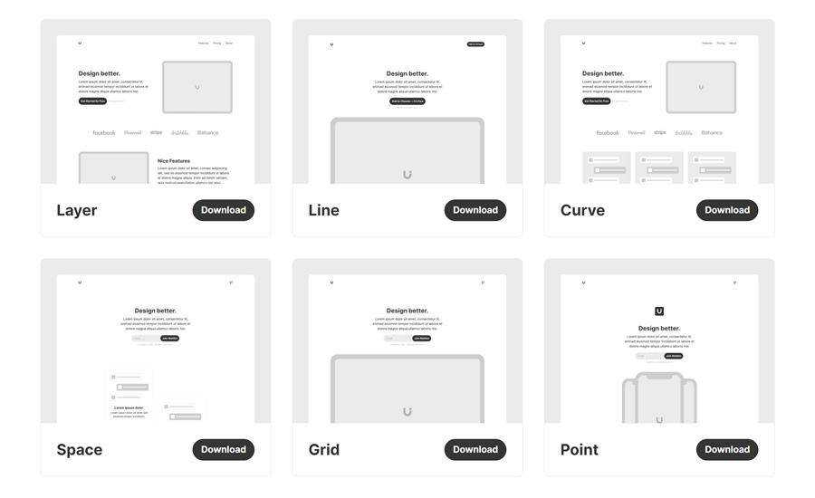 Uisual minimal free Six Landing Page Templates for Startups