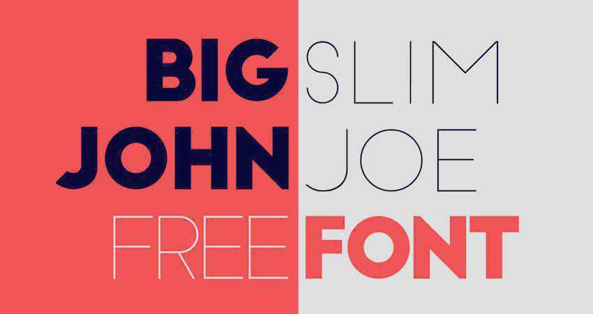 Sans Serif Free Font Designers Creatives Big John & Slim Joe Sans Serif
