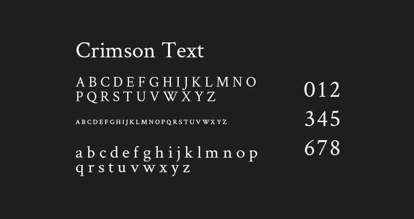Serif Free Font Designers Creatives The Crimson Text typeface