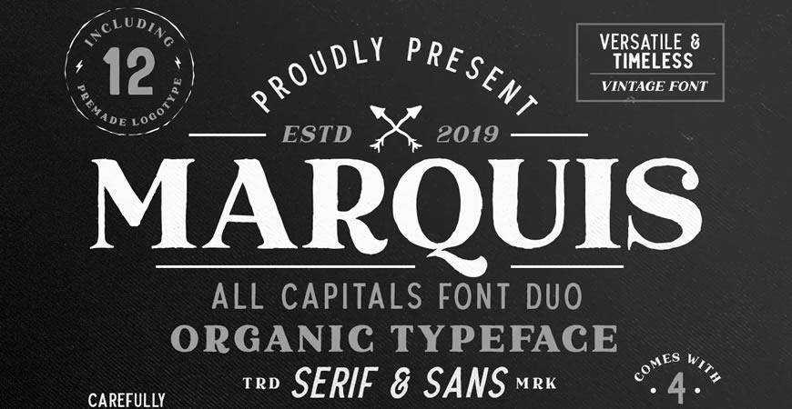Marquis Organic Font Duo free title headline typography font typeface
