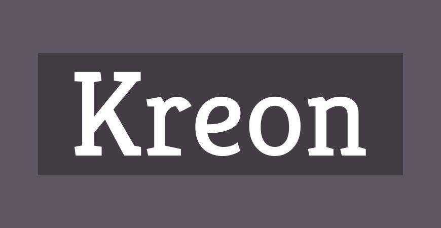 Kreon free title headline typography font typeface