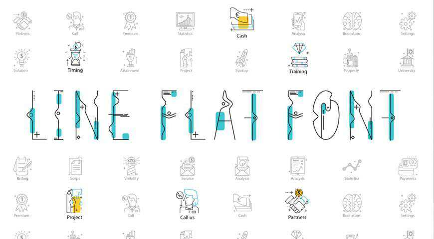 Line Icon Flat Font @fontface webfont free