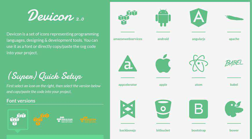 Devicon 2.0 Programming Development Icon Font @fontface webfont free